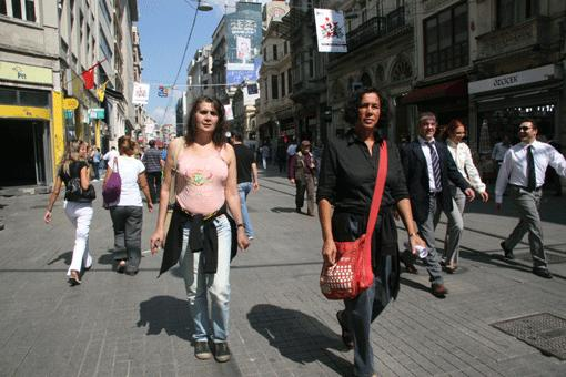 Ebru Kırancı and Demet Demir on the İstiklal Cadessi in Istanbul